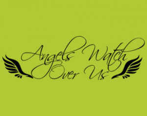 Angels Watch Over Us Decor vinyl wa ll decal quote sticker Inspiration ...