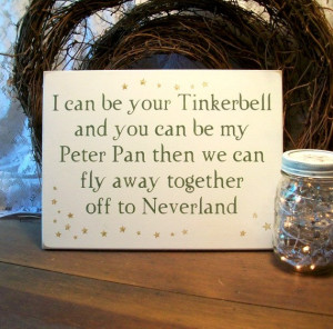 Tinker Bell and Peter Pan Painted Wood Wedding Sign Love Shabby Fairy ...