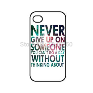 HESTECH Never Give up Quote Pattern Plastic Hard Case for iPhone 4/4S ...