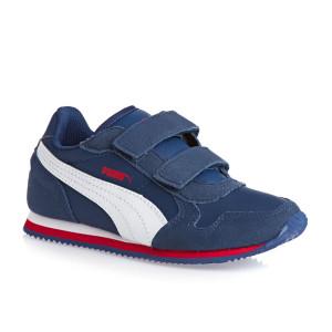 baskets puma baskets st runner velcro junior puma bleu blanc rouge jpg