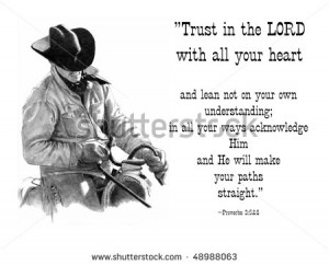 Pencil Drawing of Cowboy with Bible Verse, Proverbs - stock photo