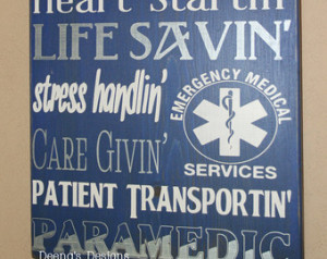 Art, EMS Decor, Distressed Wall Decor, Custom Wood Sign, Paramedic/EMS ...