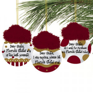Florida State Seminoles (FSU) 3-Pack Team Sayings Ornaments