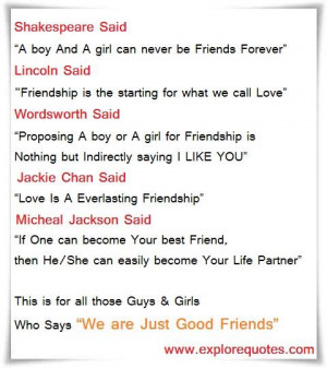 We are just good friends…