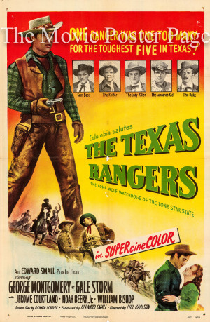 ... Rangers, The (1951) - (George Montgomery) US one-sheet F, EX $95