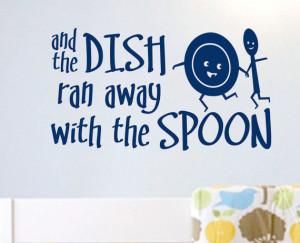 Nursery Rhyme Wall Quote Hey Diddle Dish Ran Away