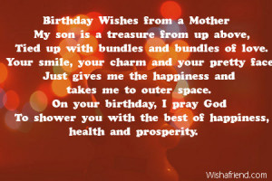 Happy Birthday Son Quotes From Mom Birthday wishes from a mother