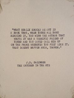 THE J.D. SALINGER Typewriter quote on 5x7 cardstock by WritersWire, $6 ...