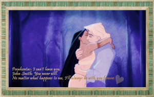 Pocahontas, as she throws herself over John Smith, who is about to be ...