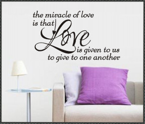 Vinyl Wall Lettering Words Quotes Art Romantic Phrase Miracle of Love