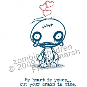 Cute Zombie Love Halloween zombie love card
