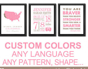 date print girl, custom birth stats, you are braver quote, new baby ...