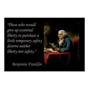 Benjamin Franklin Liberty Freedom Quote Print