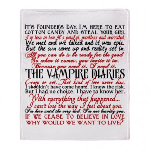 Damon Gifts > Damon Living Room > Vampire Diaries Quotes Throw Blanket