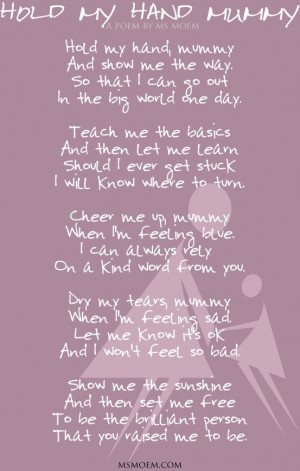 Hold My Hand Mummy | A poem by Ms Moem.