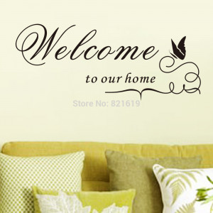Welcome To Our Home Wall Sticker DIY Removable Vinyl Quotes and ...