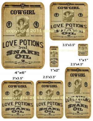 Cowgirl Love Potion Labels...