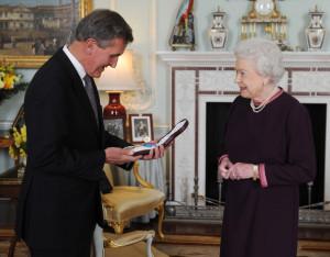 Neil MacGregor Queen Elizabeth II presents the Order of Merit to Neil