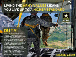 ... the Army Values means you live up to a higher standard. #Duty #Values
