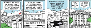 What symbols has Garry Trudeau used to represent certain politicians?