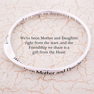 Message bangle Mother Daughter Mother's day gift silver plated