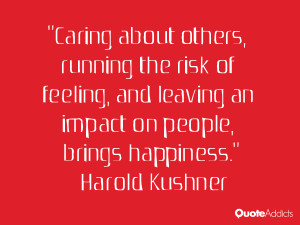Caring about others, running the risk of feeling, and leaving an ...