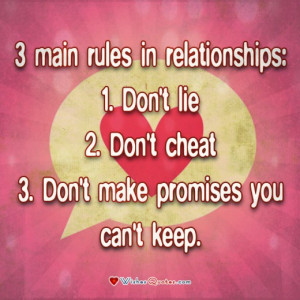 Relationship Quote, Couple, Love. 3 main rules in relationships: Don't ...