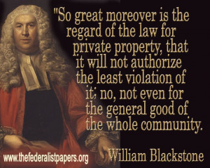 William Blackstone, Private Property and the Law
