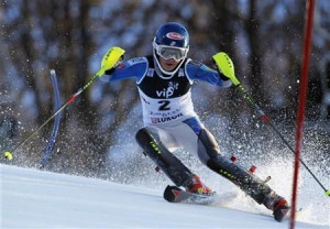 Mikaela Shiffrin of the U.S. clears a gate during the first run of the ...