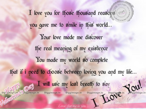 Love you for those thousand reasons..... I Love Quotes for ...