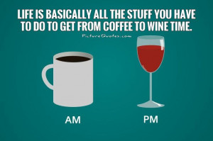 ... stuff you have to do to get from coffee to wine time Picture Quote #1