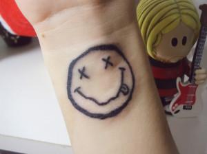 kurt cobain, nirvana, smile, tattoo