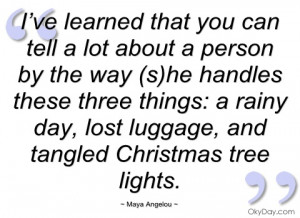 ve learned that you can tell a lot about maya angelou
