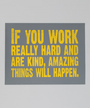 Take a look at this Gray & Yellow 'Work Really Hard' Print on zulily ...