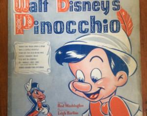 1940s walt disneys pinocchio sheet music ...