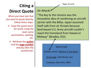 """Citing a Direct Quote Air Attacks """"The key to the mission was the ..."""