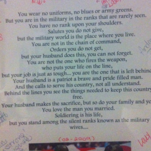Military wife poem given to me before our last deployment. Signed and ...