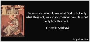 Because we cannot know what God is, but only what He is not, we cannot ...