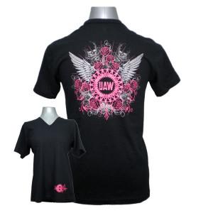 UAW LadyBikerSkull PinkBackGraphic