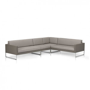 Dune 3 Piece Sectional Sofa with Sunbrella Taupe Cushions
