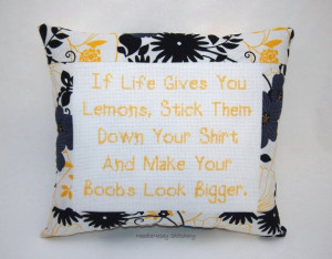... Stitch Pillow, Black and Yellow Pillow, If Life Gives You Lemons Quote