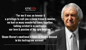 Shane Warne pays tribute to 'Godfather of cricket' Richie Benaud