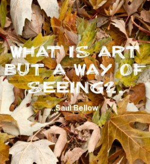 What is art but a way of seeing? Saul Bellow