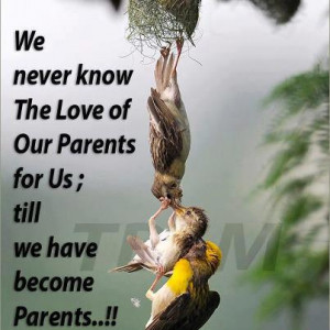 never know the love of our parents for us till we have become parents ...