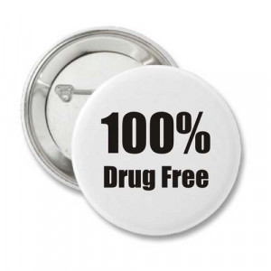 Home > Recovery Buttons > 100% Drug Free - Recovery Badge