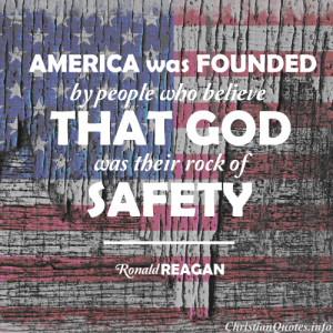 Ronald Reagan Quote - America Founded - distrssed american flag