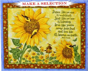 SUNFLOWERS BLUEBERRIES SAYINGS BEEHIVE BIRDS FABRIC & PANELS (MAKE A ...