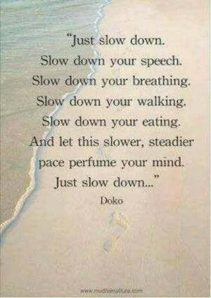 Just slow down...