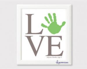 Simple Love Handprint Art | Gift Id ea | Nursery Decor | Grandparents ...