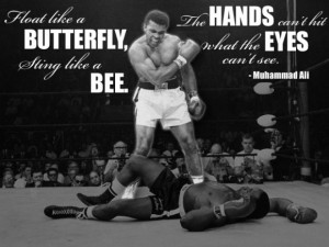 Quote: Float like a butterfly, sting like a bee. His hands can't hit ...